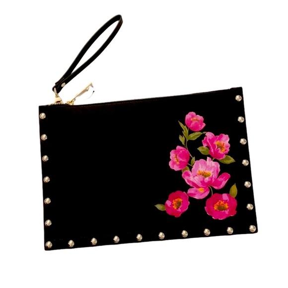 White House Black Market Floral Wristlet Clutch